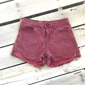 Volcom Red Striped Shorts Size 1